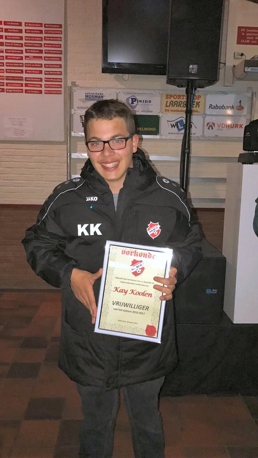 Vrijwilliger van het seizoen: Kay Koolen