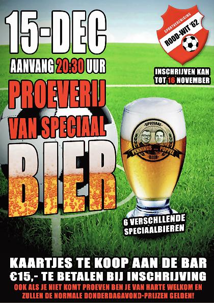Bierproeverij 15 december voor leden