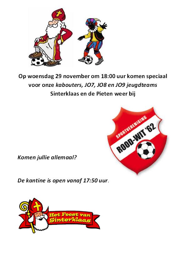 29 november Sinterklaas bij Rood Wit